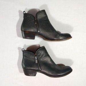 Lucky Brand 9 Bartalino Metallic Zipper Boots Heel